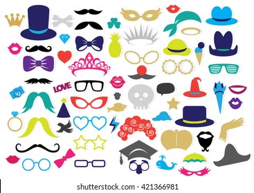 68 Piece Photo Booth Props - wedding, party, birthday