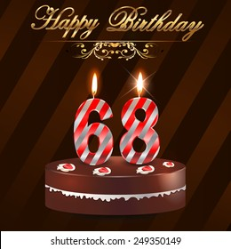 68 year Happy Birthday Card with cake and candles, 68th birthday - vector EPS10