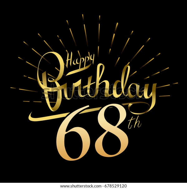 68th Happy Birthday Logo Beautiful Greeting Stock Vector