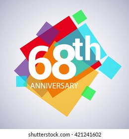 68th years anniversary logo, vector design birthday celebration with colorful geometric isolated on white background.