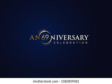 69 Anniversary celebration with gold simple text and luxury design on blue background. anniversary logo design. unique anniversary logo design.