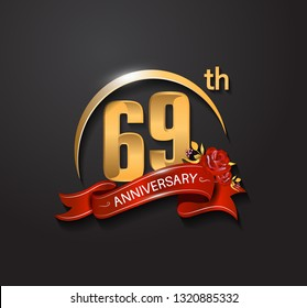 69 anniversary design logotype with golden swoosh, red ribbon and red rose. Vector template for use in celebration company event, greeting card, and invitation card
