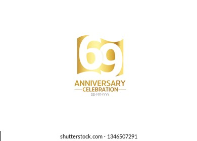 69 anniversary, minimalist logo years, jubilee, greeting card. Birthday invitation.Sign Flag Gold space vector illustration on white background - Vector