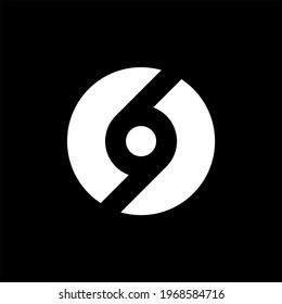 69 circle logo design vector black