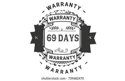 69 days warranty icon vintage rubber stamp guarantee