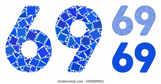 69 digits text composition of ragged parts in various sizes and color tones, based on 69 digits text icon. Vector tuberous parts are grouped into composition.