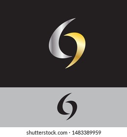 69 or letter G logo icon design template.