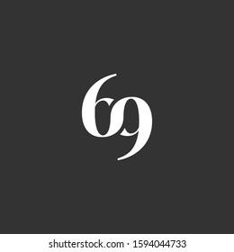 69 letter monogram logo template serif bold