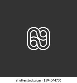 69 letter monogram logo template line art