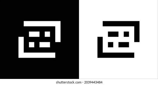 69 Logo Black and White. Negative space Logo. Monogram 69 Logo Design.