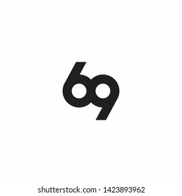 69 Logo Icon Design. Letter, Number, Illustration - Vector