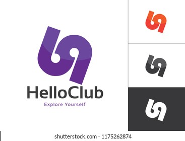 69 Number Linked Uppercase Logo Design Template Violet in White Background