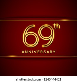 69 Sixty Nine Years Anniversary Logo with Shiny Golden Number on Red Background Isolated. 69th Celebration Event. Can Use for Poster, Invitation and Greeting Card. Easily Editable Vector.