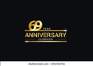 69 year anniversary celebration logotype. anniversary logo with golden and Spark light white color isolated on black background, vector design for celebration, invitation card greeting card-Vector