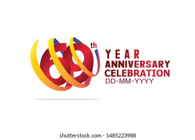 69 year anniversary celebration logotype. anniversary logo with golden and light white color isolated on black background, vector design for celebration, invitation and greeting card-Vector