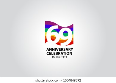 69 year anniversary celebration logotype with white number Emboss Style isolated on LGBT Colorful Flag on white grey background for invitation card, banner or flyer - vector
