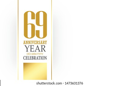 69 year anniversary, minimalist logo, greeting card. Birthday invitation. 69 year sign. Gold space vector illustration on white background - Vector