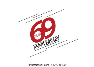 69 year anniversary, minimalist logo, greeting card. Birthday invitation. 69 year sign. Red space vector illustration on white background - Vector