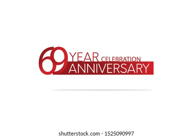 69 Year Anniversary Red Color with White Text, For Invitation, banner, ads, greeting card - Vector