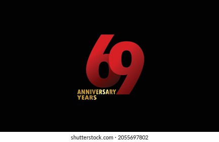 69 year anniversary red color, minimalist logo years, jubilee, greeting card. invitation on Grey background - Vector