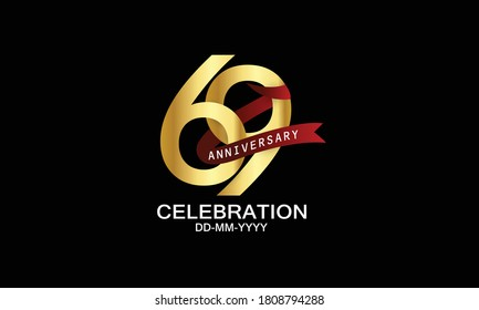 69 year anniversary red ribbon celebration logotype. anniversary logo with Red text and Spark light gold color isolated on black background, design for celebration, invitation - vector