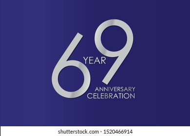 69 Year Anniversary Silver Color on Blue Background, For Invitation, banner, ads, greeting card - Vector