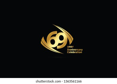 69 year minimalist logo years, jubilee, greeting card. Birthday invitation. Sign Cube Line Gold space vector illustration on black background - Vector