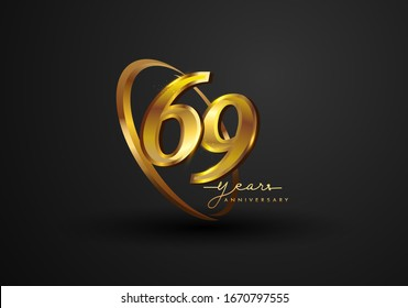 69 Years Anniversary Celebration. Anniversary logo with ring and elegance golden color isolated on black background, vector design for celebration, invitation card, and greeting card