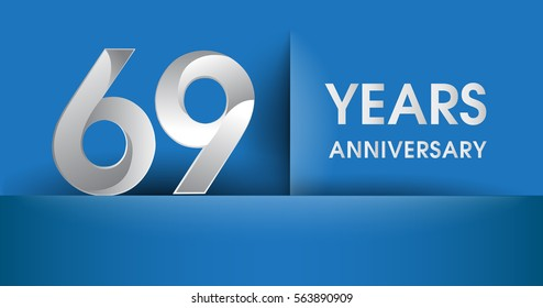 69 years Anniversary celebration logo, flat design isolated on blue background, vector elements for banner, invitation card and birthday party.