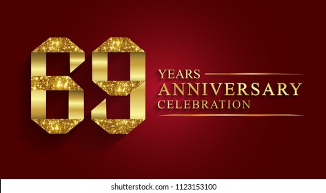 69 years anniversary celebration logotype style gift paper. Logo ribbon golden number on red background.