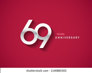 69 years anniversary celebration logotype with silver color isolated on Red background