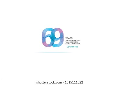 69 years anniversary celebration logotype. anniversary logo with watercolor purple and blue  isolated on white background, vector design for celebration, invitation card, and greeting card-vector