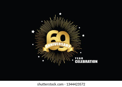 69 years anniversary celebration logotype. anniversary logo with golden isolated on black background, vector design for celebration, invitation greeting card-Vector