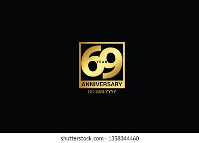 69 years anniversary celebration logotype. anniversary logo with golden and Spark light white color isolated on black background, vector design for celebration, invitation and greeting card - Vector