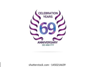 69 years anniversary celebration logotype. anniversary logo with watercolor purple and blue  isolated on white background -vector