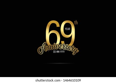 69 years anniversary celebration logotype. anniversary logo with golden Ribbons isolated on black backgrounds, for Birthdays, Invitation, Banner Card - Vector