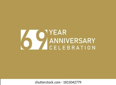 69 years anniversary celebration logotype on gold Background