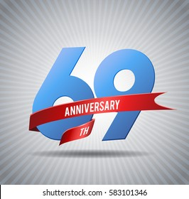 69 years anniversary celebration logotype with gray background