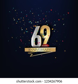 69 years anniversary and celebration templates logo design golden and silver with dark blue background