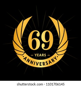 69 years anniversary. Elegant anniversary design. 69 years logo.