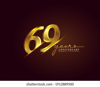 69 Years Anniversary Logo Golden Colored isolated on elegant background, vector design for greeting card and invitation card