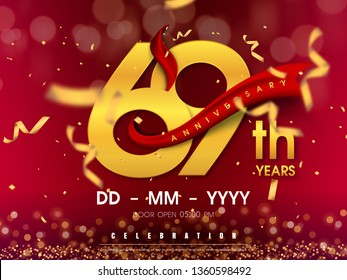 69 years anniversary logo template on gold background. 69th celebrating golden numbers with red ribbon vector and confetti isolated design elements