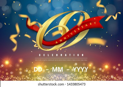 69 years anniversary logo template on gold and blue background. 69th celebrating golden numbers with red ribbon vector and confetti isolated design elements