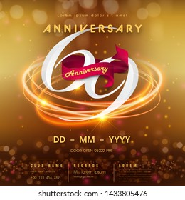69 years anniversary logo template on golden Abstract futuristic space background. 69th modern technology design celebrating numbers with Hi-tech network digital technology concept design elements.