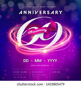 69 years anniversary logo template on purple Abstract futuristic space background. 69th modern technology design celebrating numbers with Hi-tech network digital technology concept design elements.
