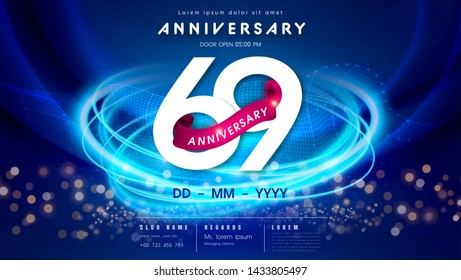 69 years anniversary logo template on dark blue Abstract futuristic space background. 69th modern technology design celebrating numbers with Hi-tech network digital technology concept design elements.