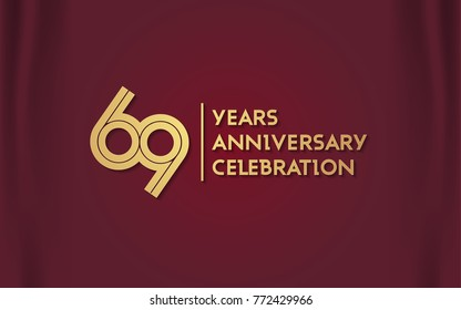 69 Years Anniversary Logotype with  Golden Multi Linear Number Isolated on Red Curtain Background