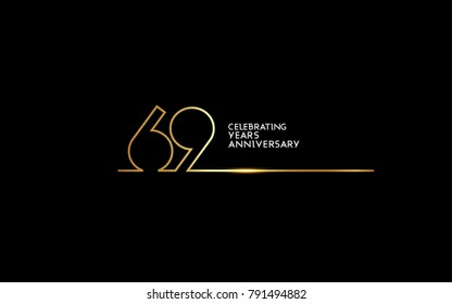 69 Years Anniversary logotype with golden colored font numbers made of one connected line, isolated on black background for company celebration event, birthday