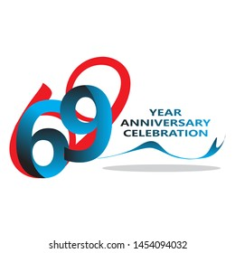 69 Years anniversary logotype with red colored font numbers made of one connected line, isolated on white background for company celebration event, birthday