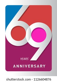 69 years old celebrating modern logo. Colored happy anniversary template numbers. vector design for celebration, invitation card, and greeting card
